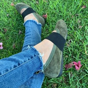 Olive Ballerina Faux Suede Shoes